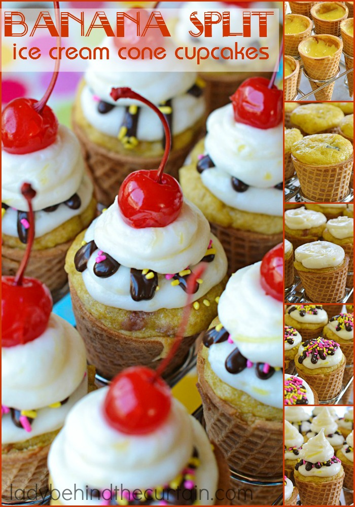 These Banana Split Ice Cream Cone Cupcakes may look impressive but are super simple to make for some summer fun!