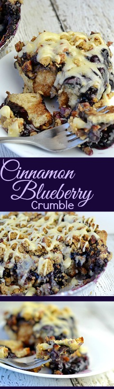 A simple way to serve your family an outstanding breakfast treat. Starting with store bought cinnamon rolls, blueberry pie filling and the best crunchie topping. It's one of my families favorite breakfasts!