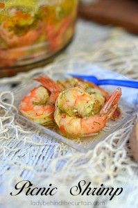 Picnic Shrimp: Pickled shrimp perfect to take on a summer picnic at the beach, park or camping.