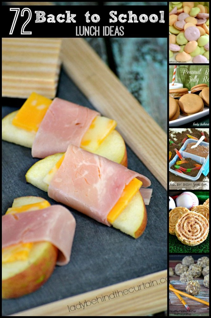 72 Back to School Lunch Ideas- from easy homemade baked apple chips to creative peanut butter and jelly sandwiches.