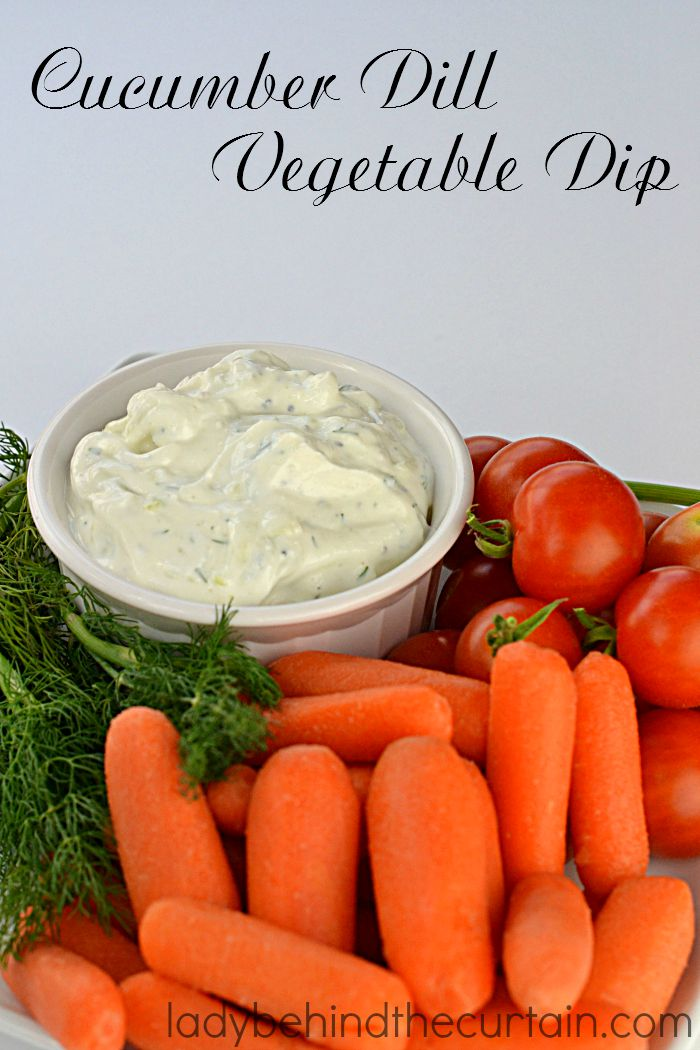 Cucumber Dill Vegetable Dip: Made with creamy low fat sour cream fresh cucumber, dill and cousin to Tzatziki Dip.