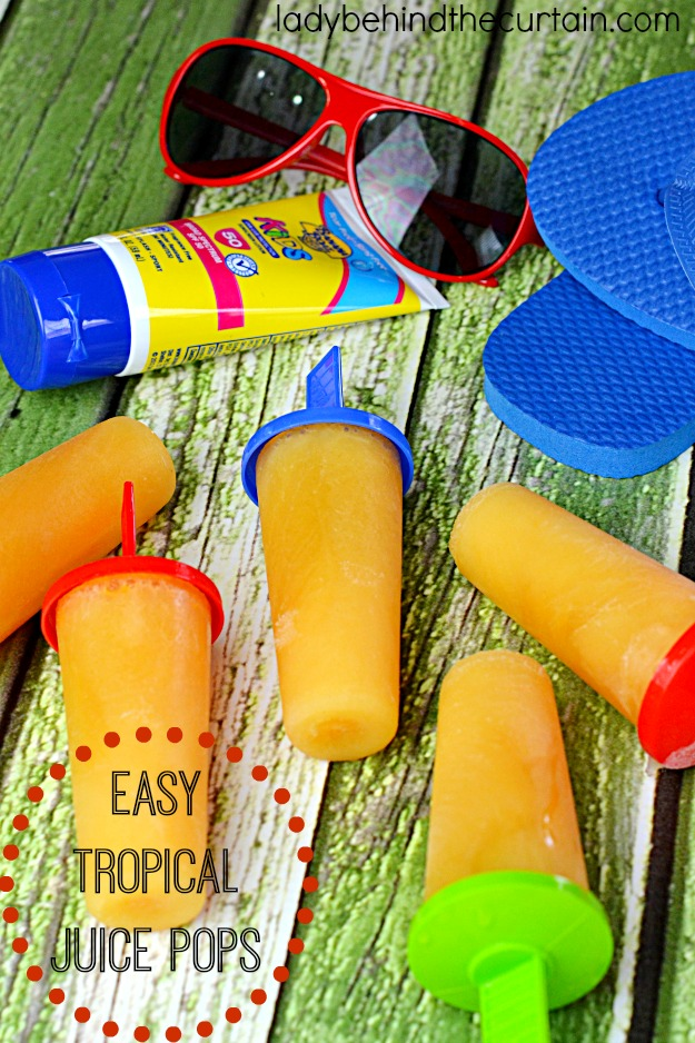 Easy Tropical Juice Pops: A mixture of passion fruit juice, orange juice and guava juice.
