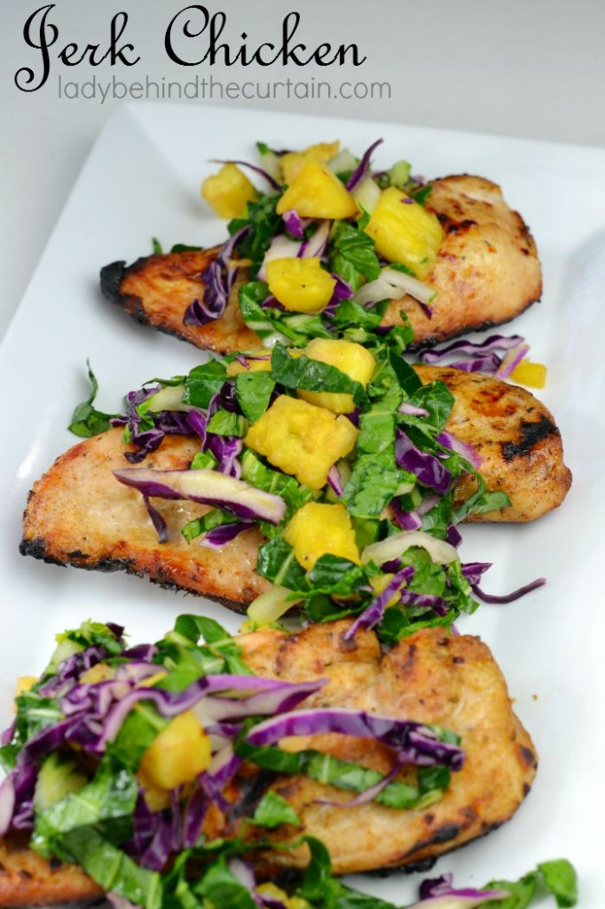 This Jerk Chicken has the right combination of flavors. The chicken is sprinkled with a sweet spicy seasoning and grilled. Top off this Caribbean meal with a pineapple slaw.