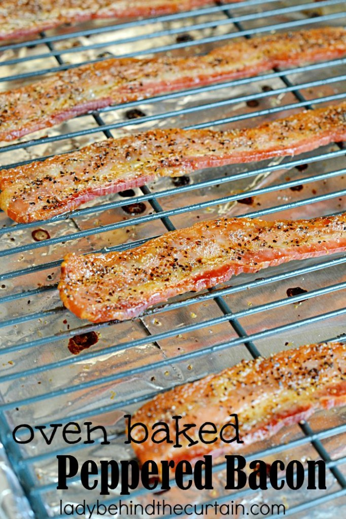 Oven Baked Peppered Bacon: Add a punch of flavor to your burger with this simple to make topping.