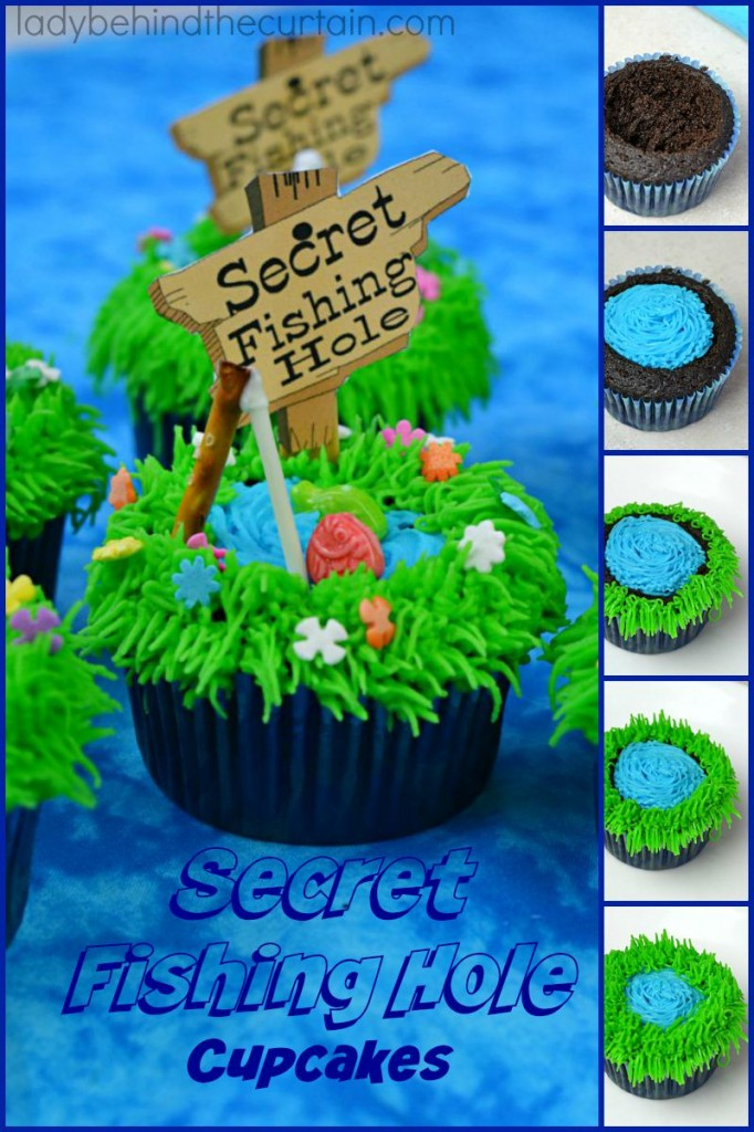 Secret Fishing Hole Devil's Food Cupcakes - Lady Behind The Curtain 13