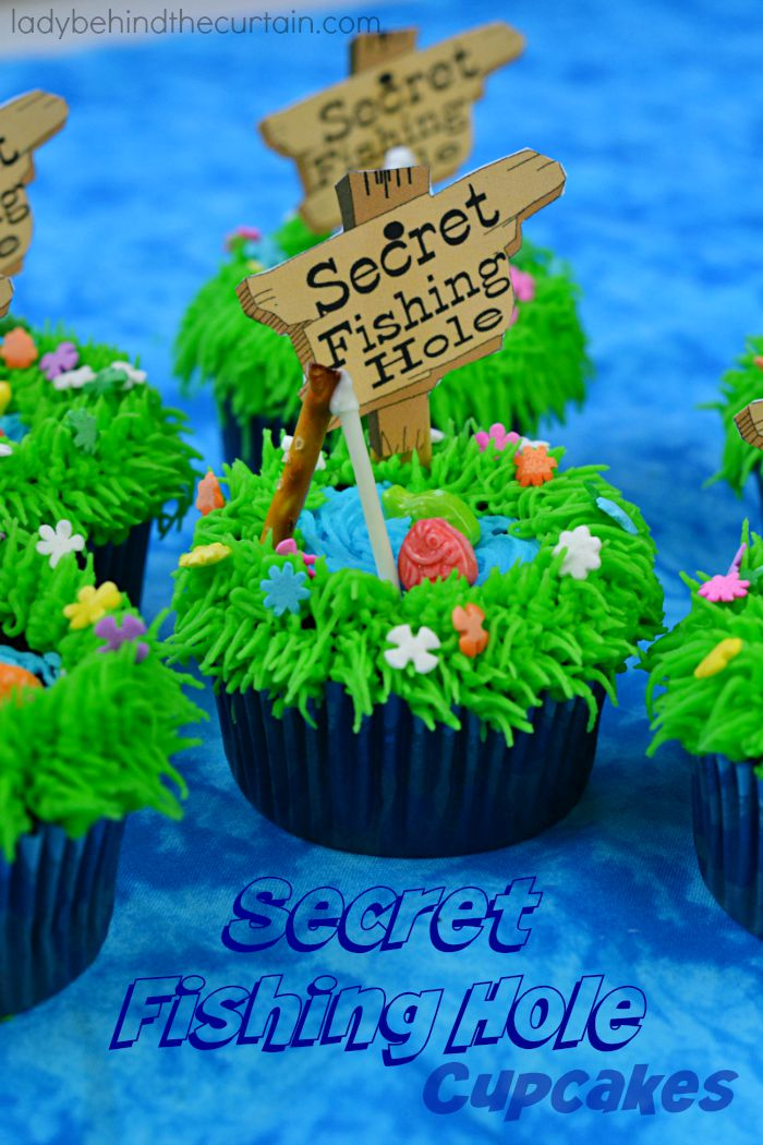 Secret Fishing Hole Devil's Food Cupcakes - Lady Behind The Curtain 4