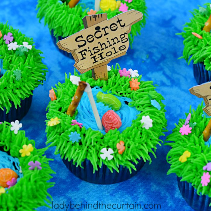 Secret Fishing Hole Devil's Food Cupcakes - Lady Behind The Curtain 5