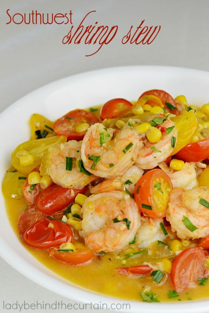 This full of flavor Southwest Shrimp Stew is perfect for a weeknight dinner and is low in calories! A large recipe to ensure you'll have leftovers!