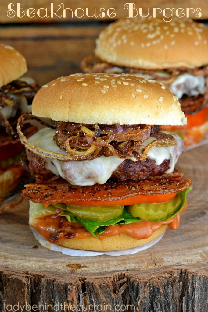 This Steakhouse Burger is packed with layers of flavor. Chipotle ketchup, melted jack cheese, Peppered Bacon and fried onion straws.