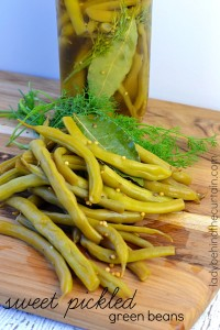 Sweet Pickled Green Beans make the perfect addition to a platter of savory foods like cheeses, meats and olives.