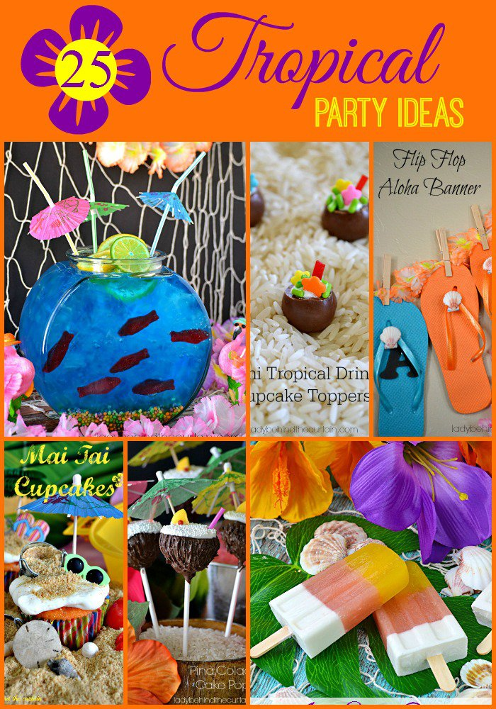 25 Tropical Party Ideas: Wedding receptions, summertime parties or birthday parties there is never a bad time to have a tropical themed party.