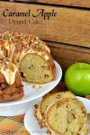 Caramel Apple Pound Cake | A tender cake with TWO layers of of sweet brown sugar apples, topped with a cream cheese frosting drizzle, caramel and a sprinkling of pecans.
