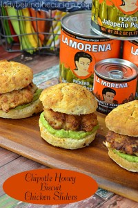 Chipotle Honey Biscuit Chicken Sliders   Bring a little Latino flair to your summer picnic with these sweet and spicy biscuit chicken sliders.