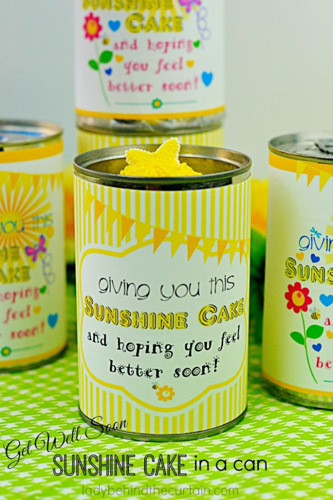 Get Well Soon Sunshine Cake in a Can: Bring a little sunshine to someone with this easy to make cake in a can!