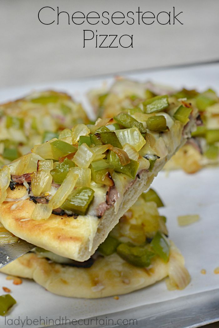 Cheesesteak Pizza   Turn your favorite sandwich into a pizza! Pizza and football make perfect teammates.