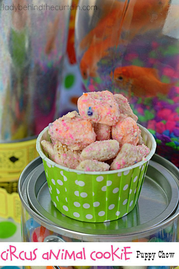 Circus Animal Cookie Puppy Chow | A tasty treat made with ground cookies.