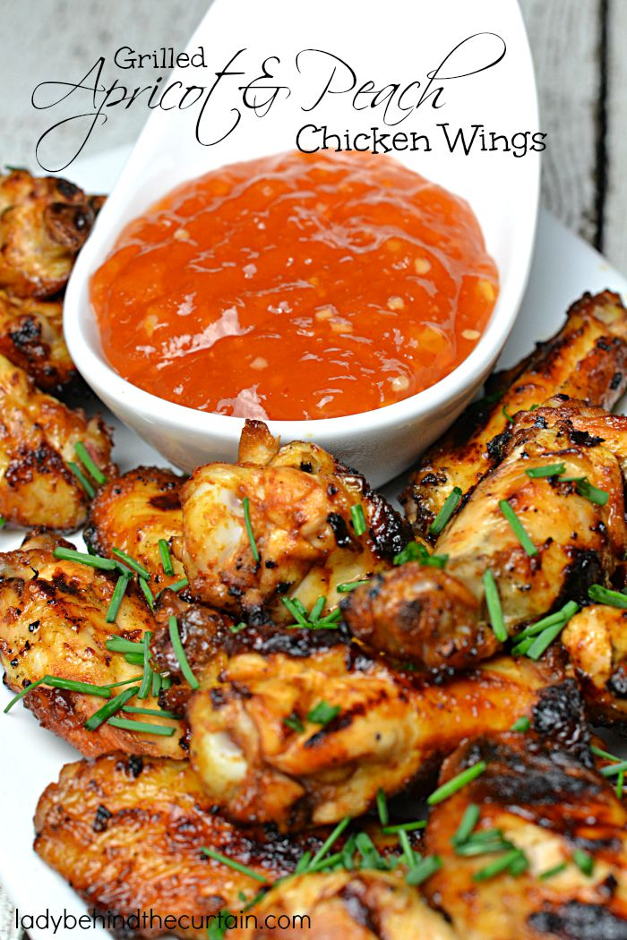 Grilled Apricot and Peach Chicken Wings   These grilled chicken wings are drenched in a sweet saucy mixture of fresh peaches with a delicious dipping sauce made from apricot jam.