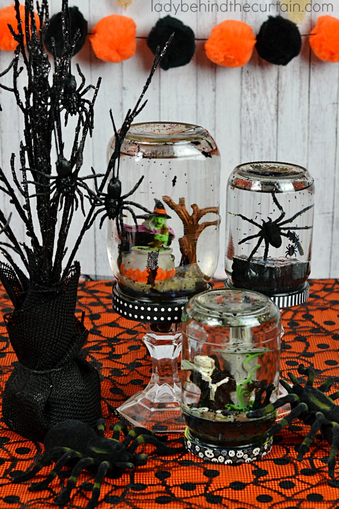 spooky halloween globes upcycle your jelly jars pickle jars and baby food jars with