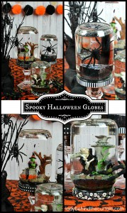 Spooky Halloween Globes | Upcycle your jelly jars, pickle jars and baby food jars with this fun and easy Halloween decoration or Halloween party favor!