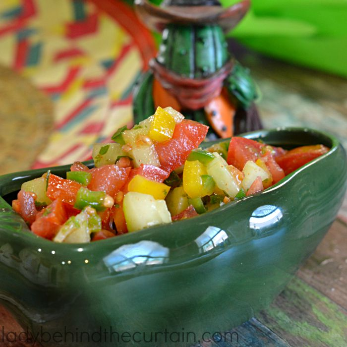 Pico de Gallo   A unique combination of tomatoes, sweet peppers, jalapenos and cucumber.