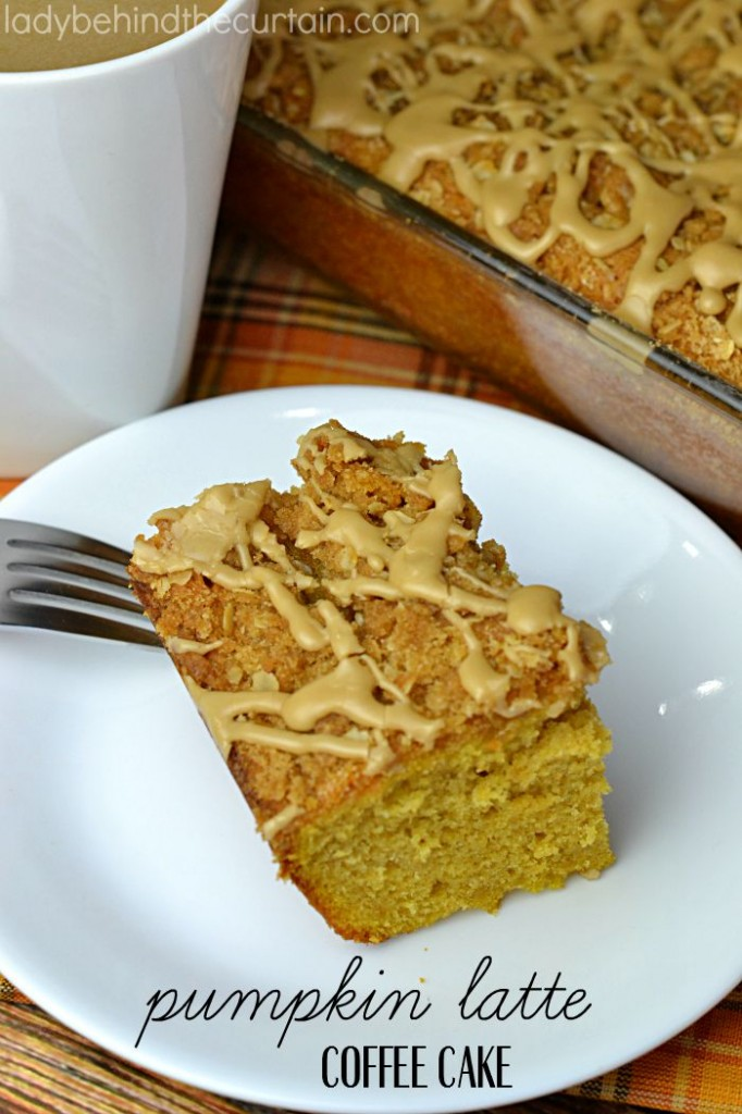 Pumpkin Latte Coffee Cake | A moist cake with pumpkin and a delicious coffee drizzle.