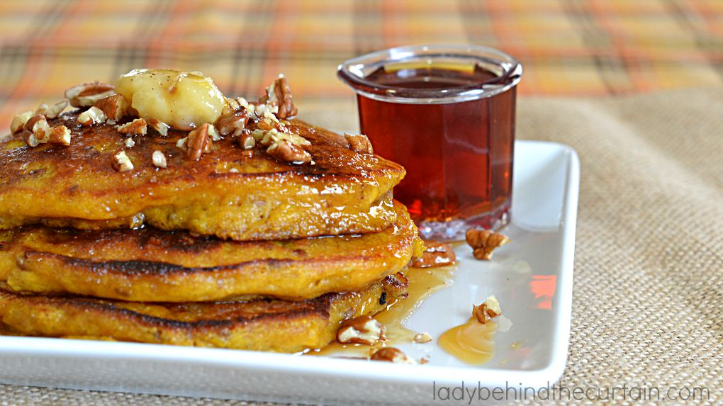 Pumpkin Pancakes with Brown Butter and Apple Cider Syrup