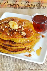 Pumpkin Pancakes with Brown Butter and Apple Cider Syrup | With ingredients like buttermilk, pecans and flaxseeds you know this recipe is a winner!