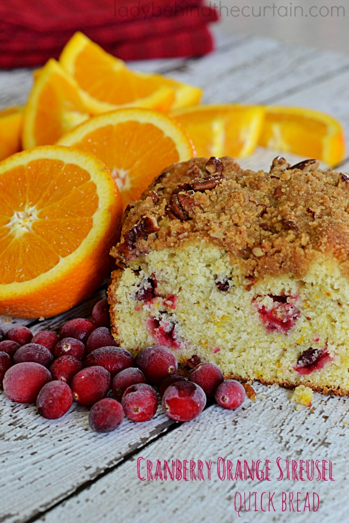 Cranberry Orange Streusel Quick Bread | A delicious way to start your morning. This easy recipe is full of fresh cranberries with the perfect balance of orange zest.