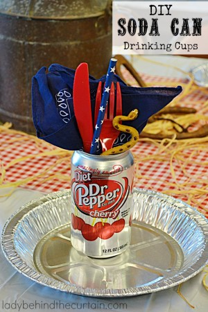 DIY Soda Can Drinking Cups | This is a fun way to upcycle your used soda cans. Perfect for game day or a fun party.