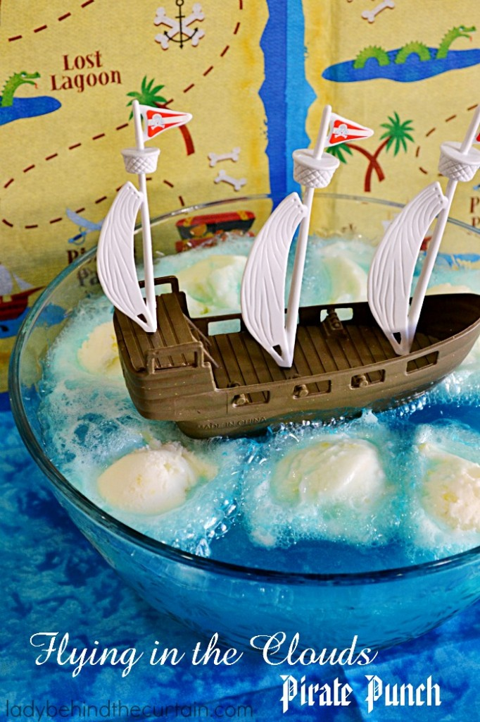 Flying in the Clouds Pirate Punch | The perfect punch for a kid's birthday party! With only THREE ingredients this punch is easy to make and affordable too!