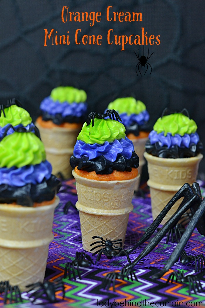 Halloween Orange Cream Mini Cone Cupcakes | Full of fun and easy to make. Perfect for your Halloween party, cake walk or bake sale.
