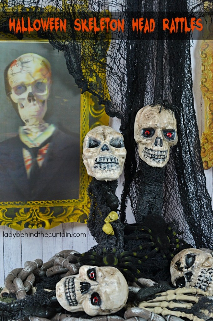 How to Make Halloween Skeleton Head Rattles PLUS Video | Make your own spooky rattles that can be added to a costume or given away as party favors.