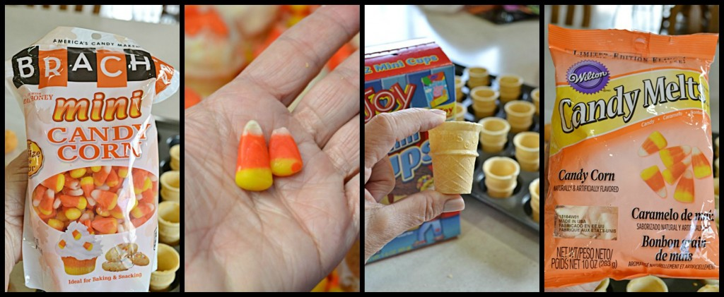 Mini Candy Corn Pinata Cake Pop Cones | Two treats in one! A delicious candy corn cake pop on top and candy corn on the inside!