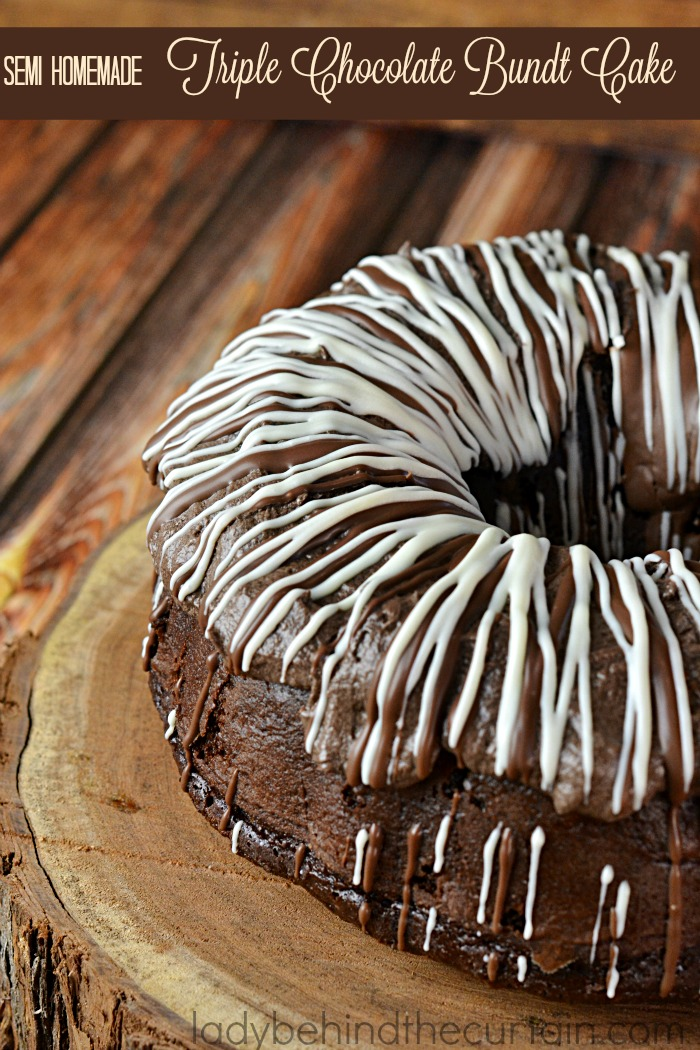 Semi Homemade Triple Chocolate Bundt Cake   This moist dazzling cake is rich with chocolate flavor and super easy to make. With a creamy Cocoa frosting that is to die for.