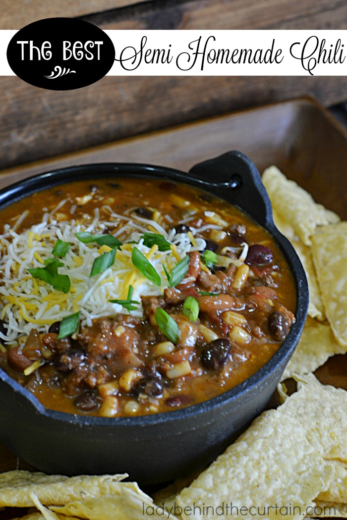 The Best Semi Homemade Chili | This hearty chili has THREE different kinds of beans, corn and green chilies to make one of the best Southwest Chilies I've ever had.