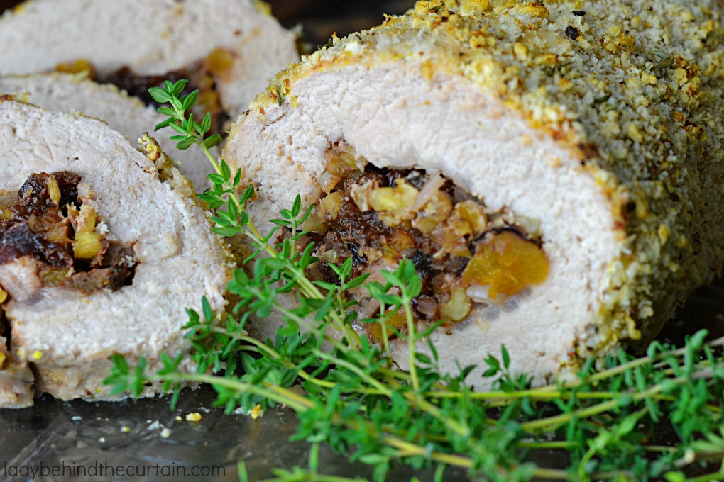 Fruit and Walnut Stuffed Pork Tenderloin | A juicy dish filled with a fruit-nut mixture and also coated with crunchy bread crumbs makes for a guest-worthy entree!