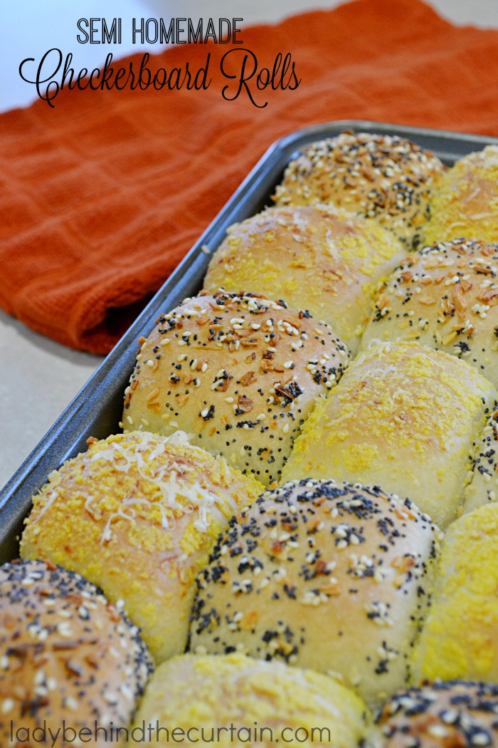 Semi Homemade Checkerboard Rolls | Tender tasty rolls. Some of the rolls have been rolled in seeds, minced onions while the other half of the rolls are rolled in corn meal and Romano cheese. Now that's a tasty roll!
