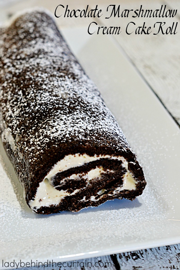 Chocolate Marshmallow Cream Cake Roll | A dark chocolate cake rolled around a marshmallow cream filling.