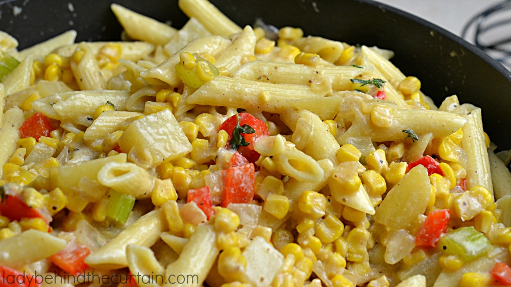 Corn Chowder Macaroni and Cheese   Take your two favorite comfort foods and combined them together to create the tastiest side dish EVER!