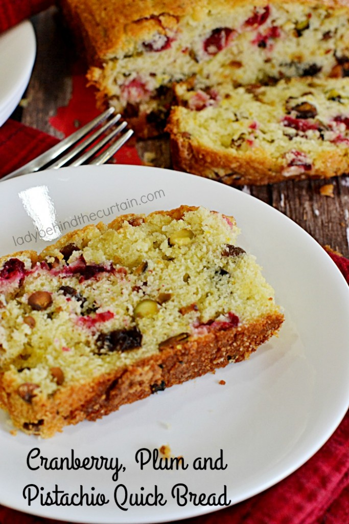 Cranberry, Plum and Pistachio Quick Bread | Light and fluffy with tons of flavor. You're guests will love waking up to the smell of this delicious bread baking.