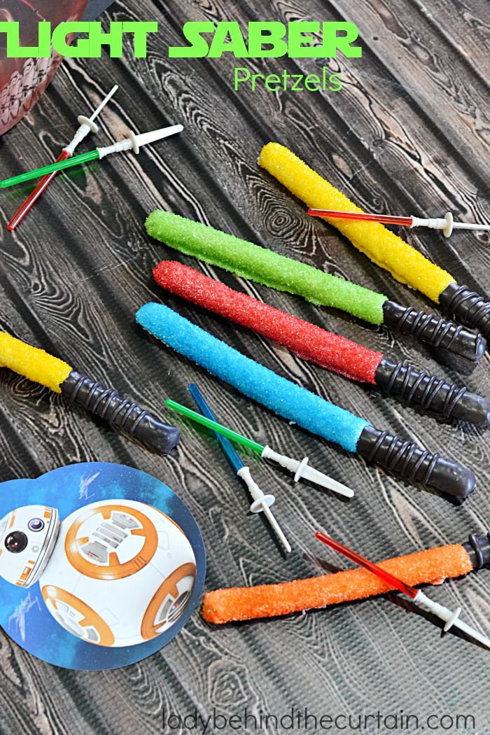Light Saber Pretzels | Celebrate the NEW Star Wars The Force Awakens movie with these easy to make treats!