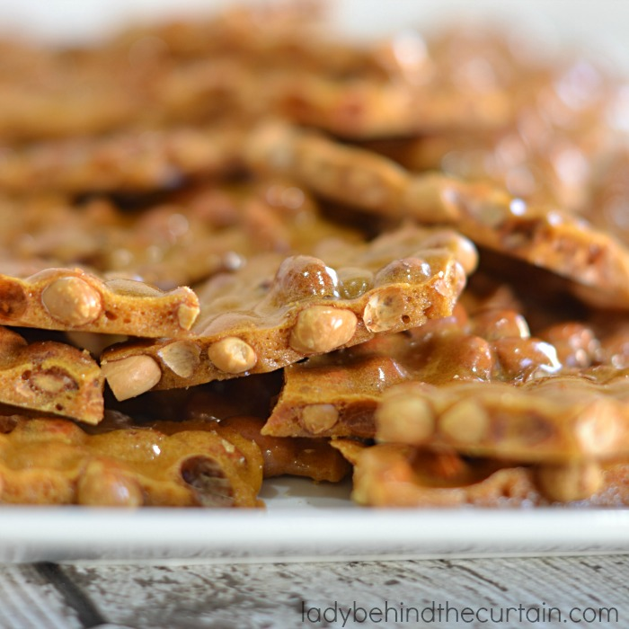 Microwave Peanut Brittle | This brittle tastes exactly like old fashioned peanut brittle. No candy thermometer.... and is ready to pour in less then 10 minutes!