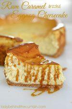 Rum Caramel Drizzled Eggnog Cheesecake