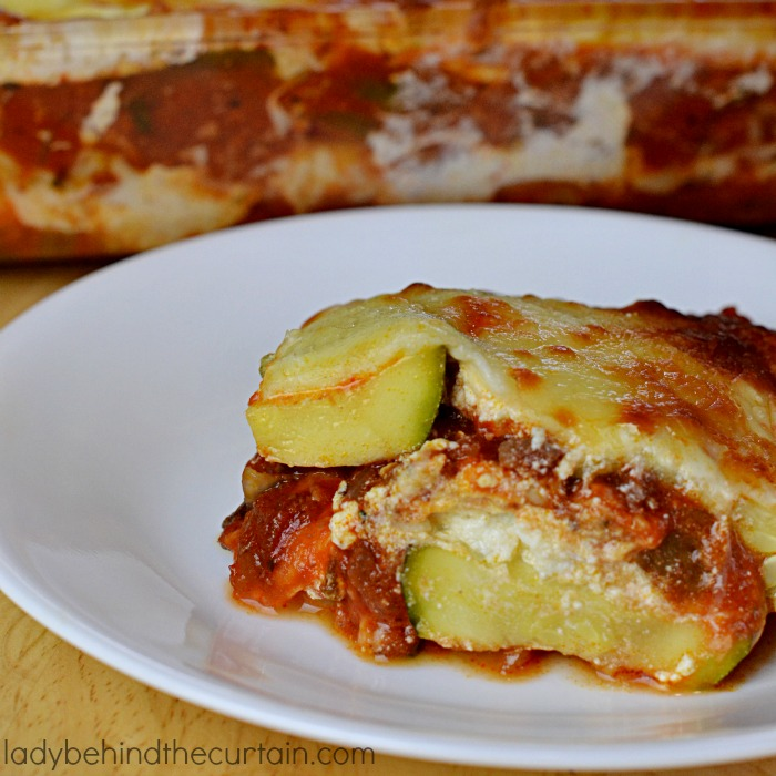 Saucy Zucchini Lasagna | This lasagna is made with my families favorite Easy Homemade Spaghetti Sauce and so good you will never miss the noodles.