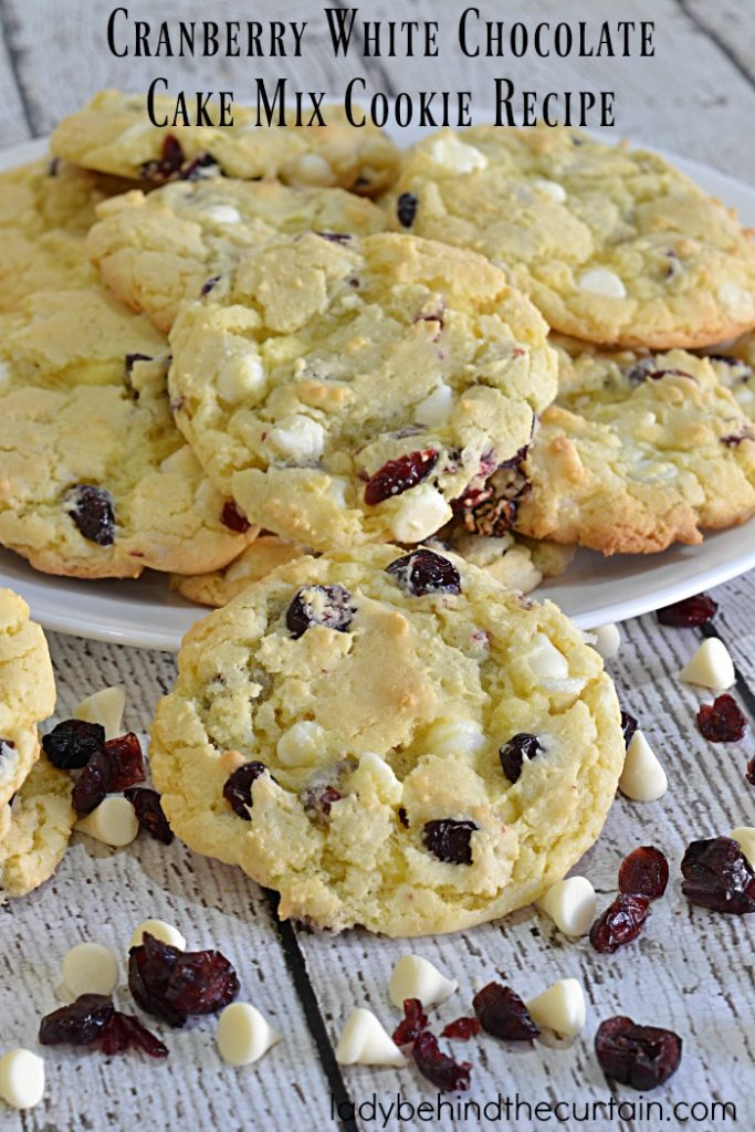 Cranberry White Chocolate Cake Mix Cookie Recipe | This cookie recipe may be easy to make but the outcome an undeniably chewy delicious cookie.