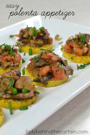 Easy Polenta Appetizer | This gluten free vegetarian appetizer is a great solution if you are having guests with allergies or food preferences.