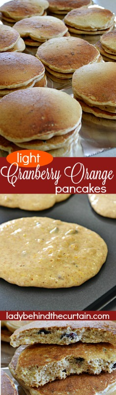 Light Cranberry Orange Pancakes | Made with wheat flour and just a touch of white flour makes these pancakes healthier than most recipes. Packed with so much flavor you won't even need syrup.