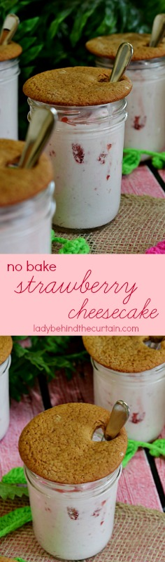 No Bake Strawberry Cheesecake | Light, fluffy, creamy and delicious! The best Valentine's Day Dessert!