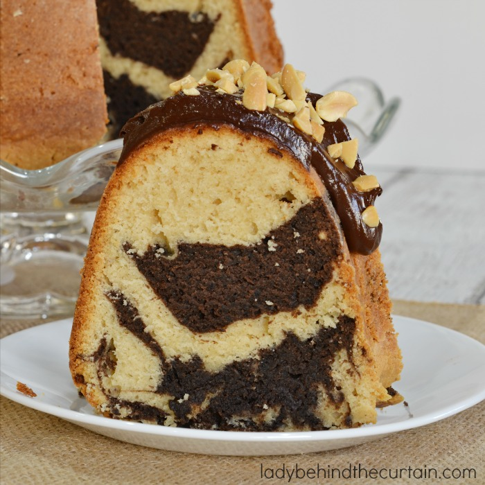 Peanut Butter Swirl Bundt Cake   An awesome cake with swirls of chocolate and peanut butter.