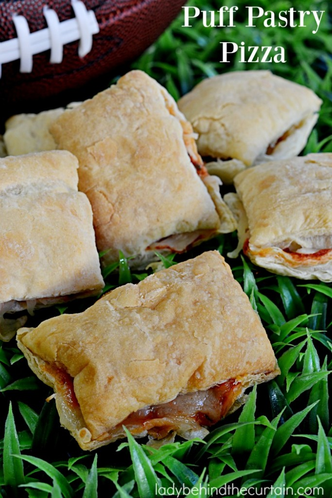 Puff Pastry Pizza | Light, crispy and full of flavor that's how I would describe these little pillows of cheesy goodness. Perfect as a Game Day or after school snack.